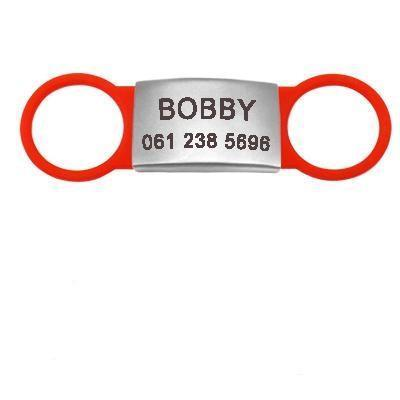 red flat dog id name tag