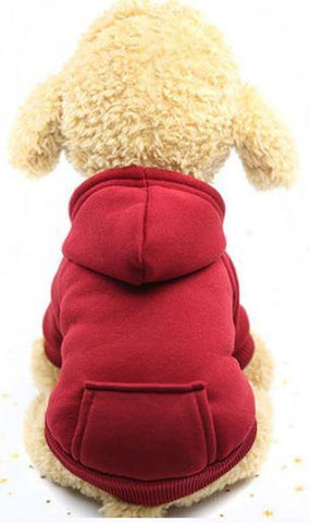 Red hoodie winter dog sweater