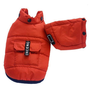 red winter hoodie dog coat
