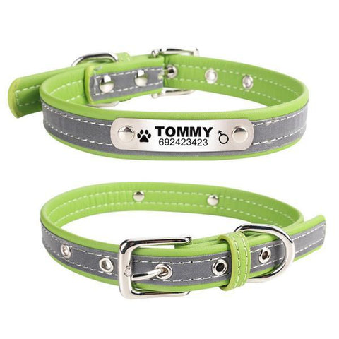 Reflective leather engraved green custom dog collar