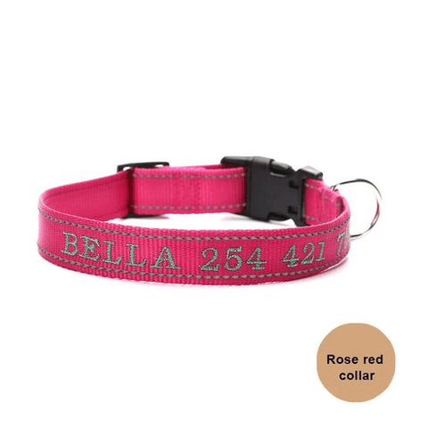 Rose custom embroidered reflective dog collar