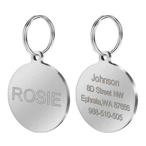 Image of Stainless steel round personalized custom dog id tag