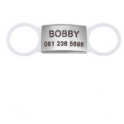 white flat dog id name tag
