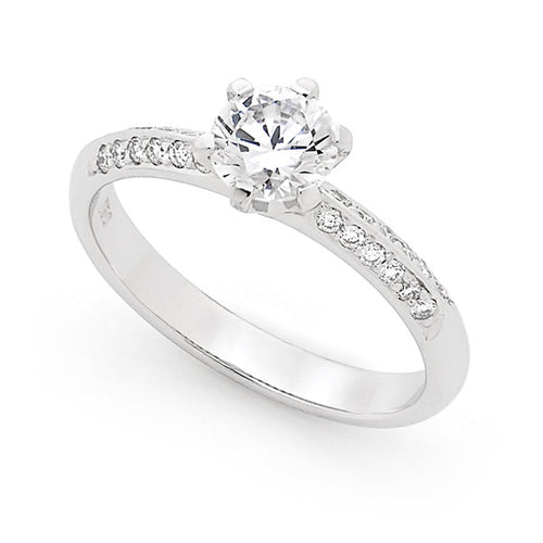 Engagement Ring with Double Row bead set shoulder 0.75ct Centre