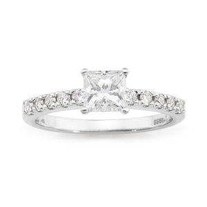 Princess Cut Engagement ring with Claw set band, and 0.70ct Centre