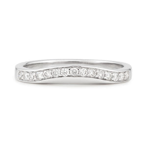 Curved fitted wedding band diamond set White Gold