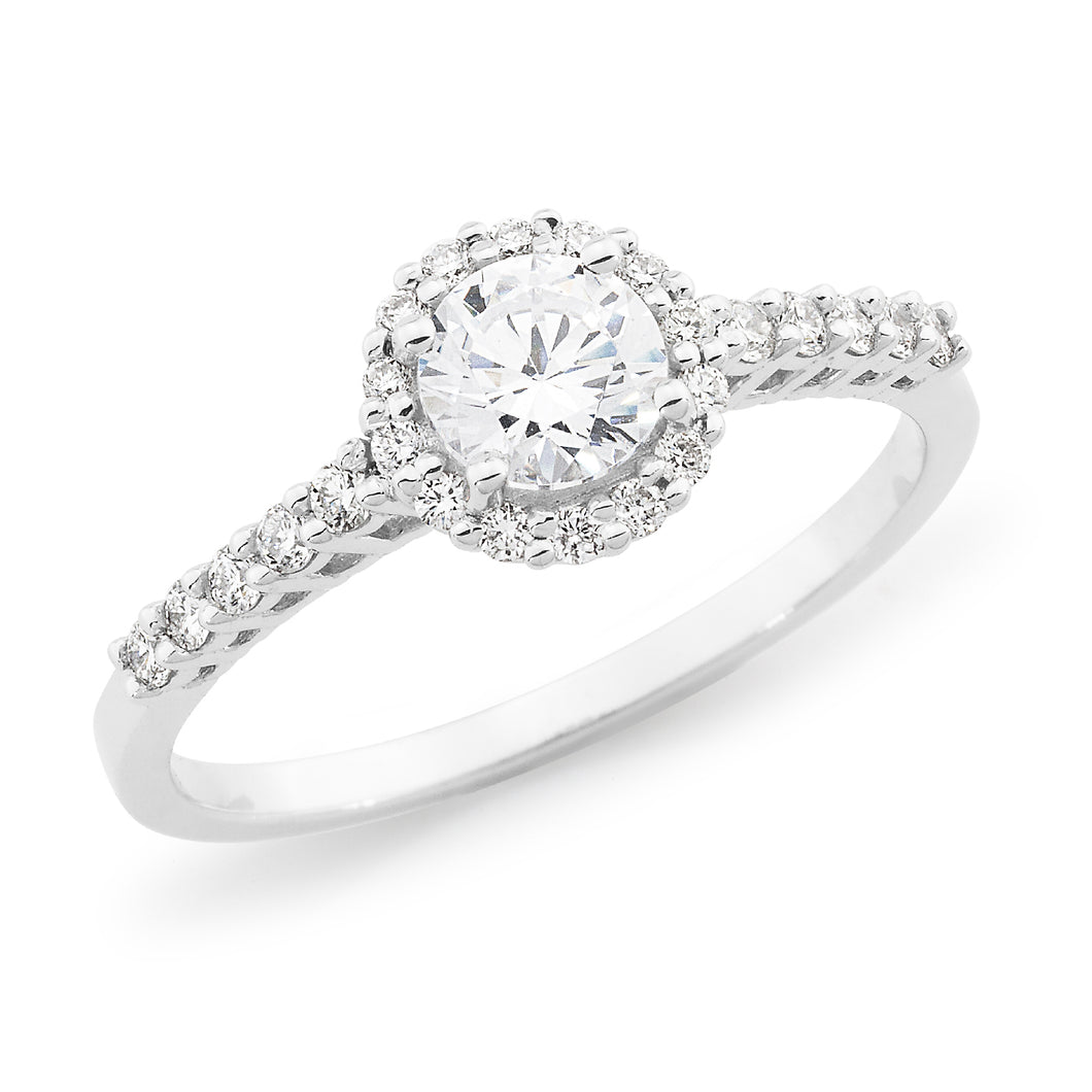 Claw set Round Diamond Ring with claw set Halo and shoulders