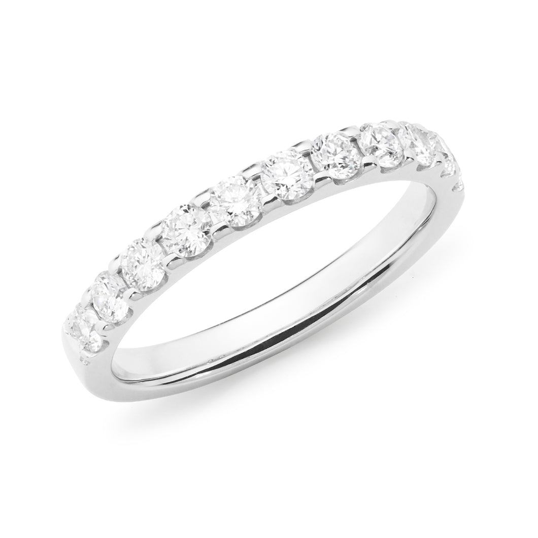 Wedding Band White Gold Modern Claw set TDW 0.66ct