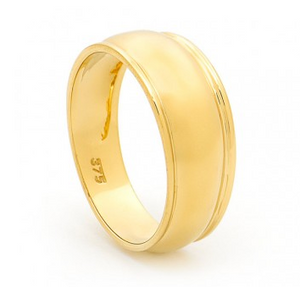Gold slave ribbed ring tapered