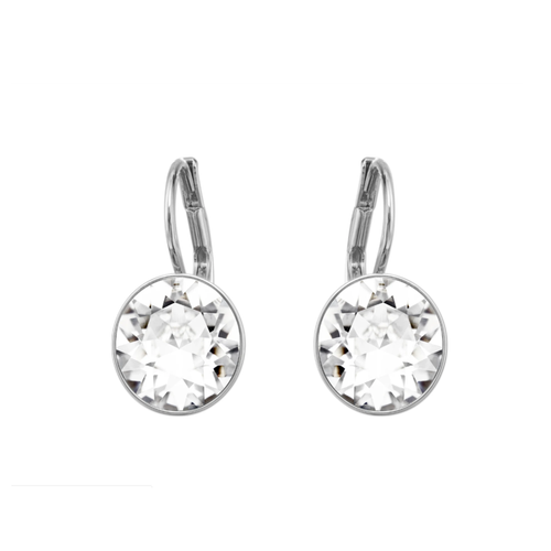Bella Earrings, White, Rhodium Plated