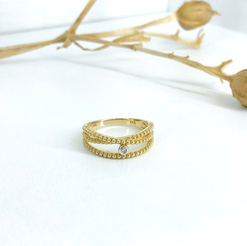 Beaded gold triple row dress ring