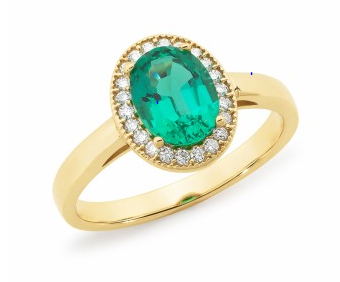 Emerald and Diamond Halo Oval Ring in Gold