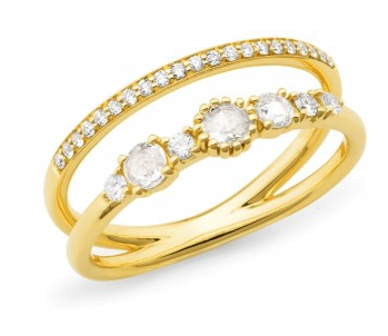 Gold Rose Cut Diamond layered ring