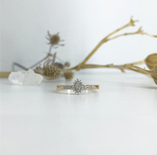 Rose Gold Diamond Marquise shaped Cluster ring