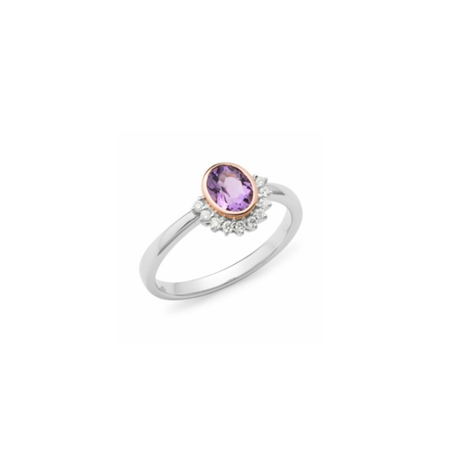 Amethyst And Half Halo Dress Ring