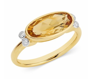 Citrine and diamond ring in gold