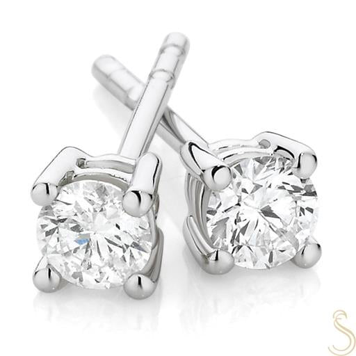 Diamond Stud Earrings White or Yellow Gold 9ct