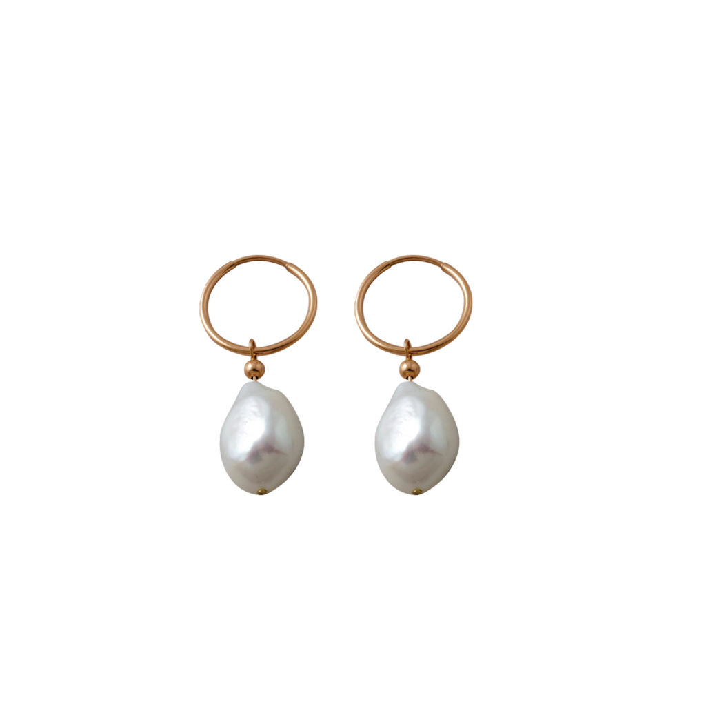 Hoop Earrings With Baroque Pearl