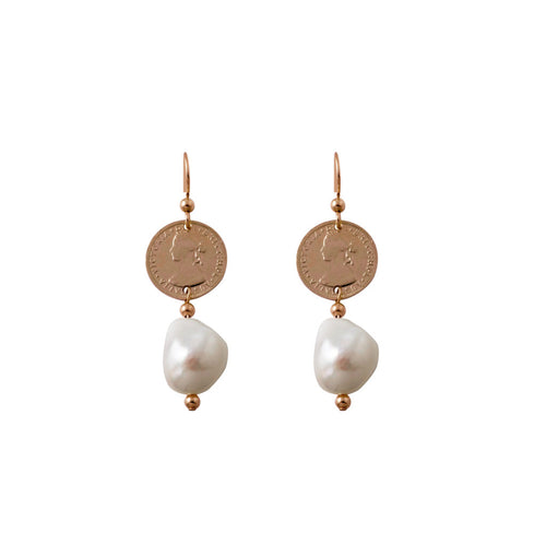 Coin Earrings With Baroque Pearl