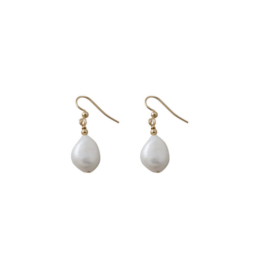 Yellow Gold Baroque Pearl Earrings