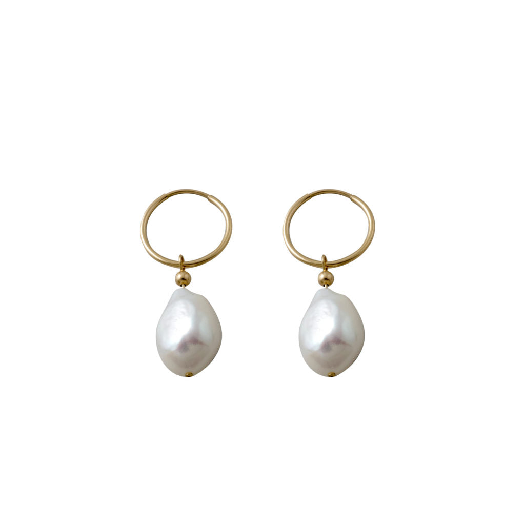 Yellow Gold Hoop Earrings With Baroque Pearl