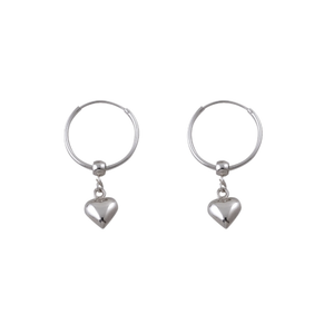 Hoop Earrings With Puffy Heart