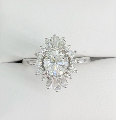 Custom Design 1ct Centre with Tapered Baguette and Round Diamond Halo