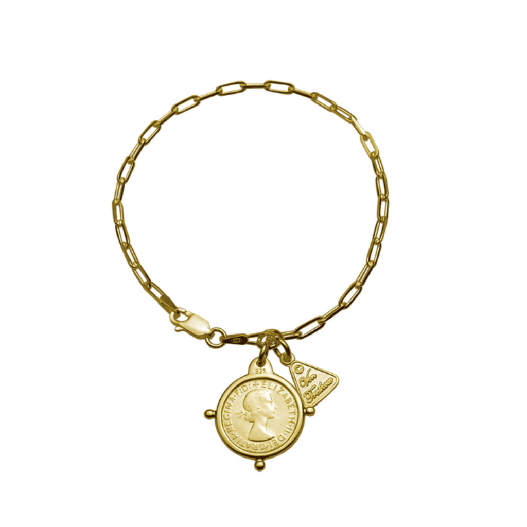 Fine Clip Chain Bracelet With Threepence, Yellow Gold