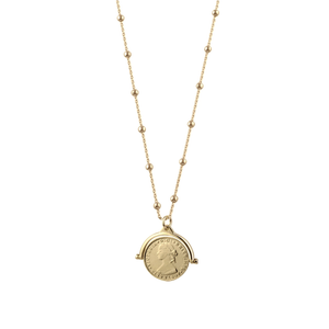 Coin Flip Necklace With Rosario Chain
