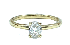 Oval Diamond Ring in 9ct Yellow Gold