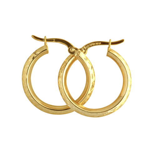 9Y Gold Toned Etched Design Hoops