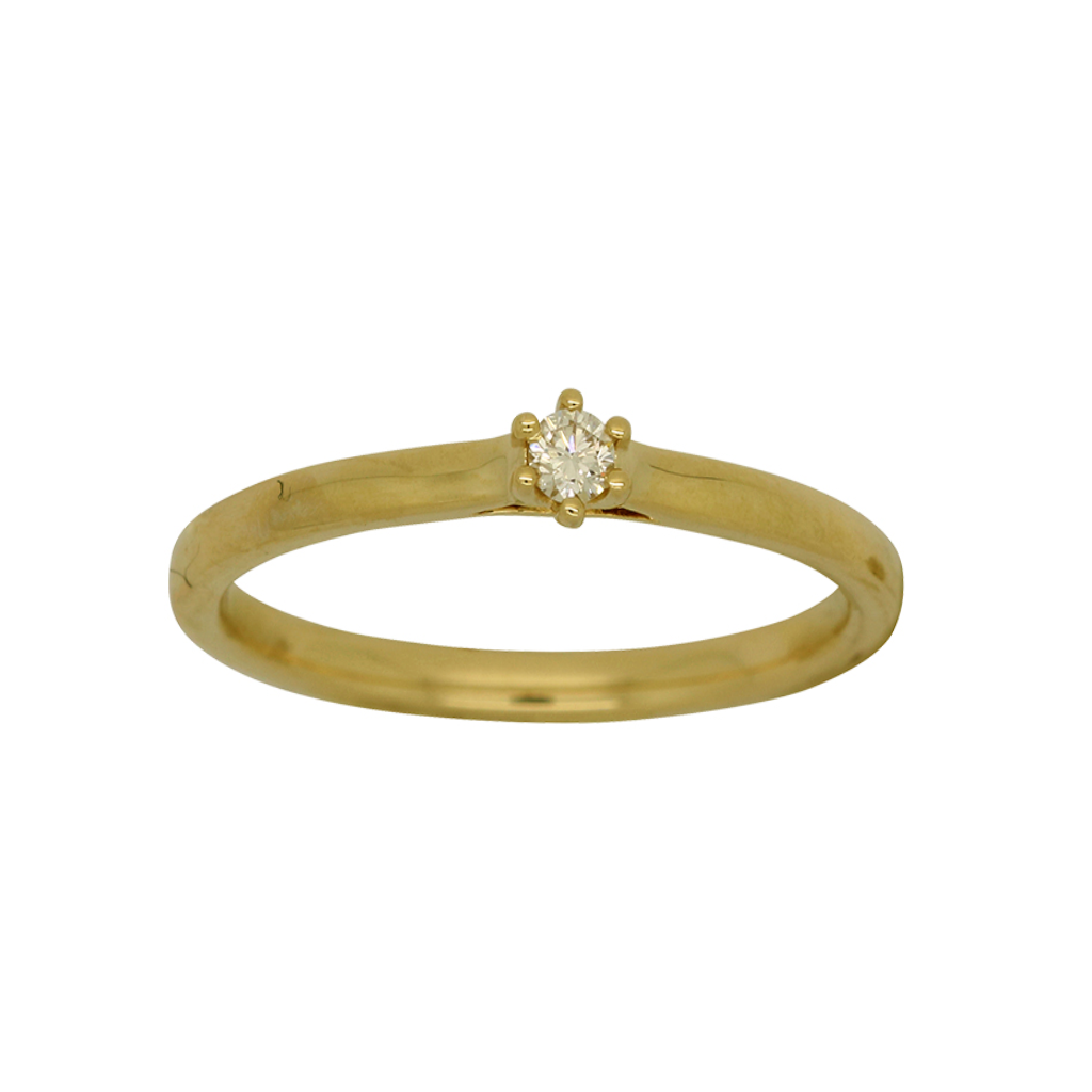 Dainty Diamond Gold Ring set in claws