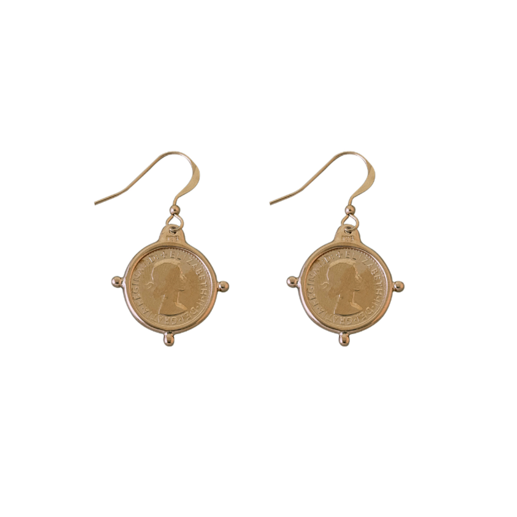 Compass Frame Coin Earrings