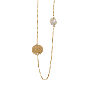 Coin & Keshi Pearl Necklace, Yellow Gold