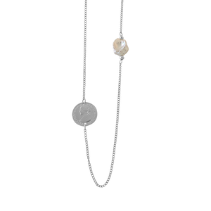 Coin & Keshi Pearl Necklace