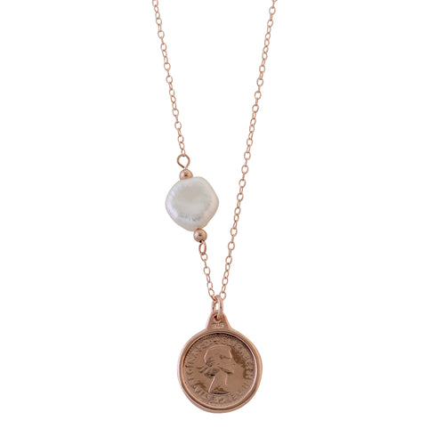Threepence Necklace with Keshi Pearl