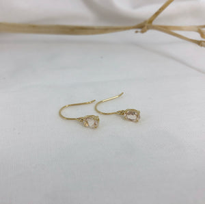 Gold and morganite oval drop earrings
