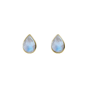 Cased Moonstone Pear Studs Gold tone