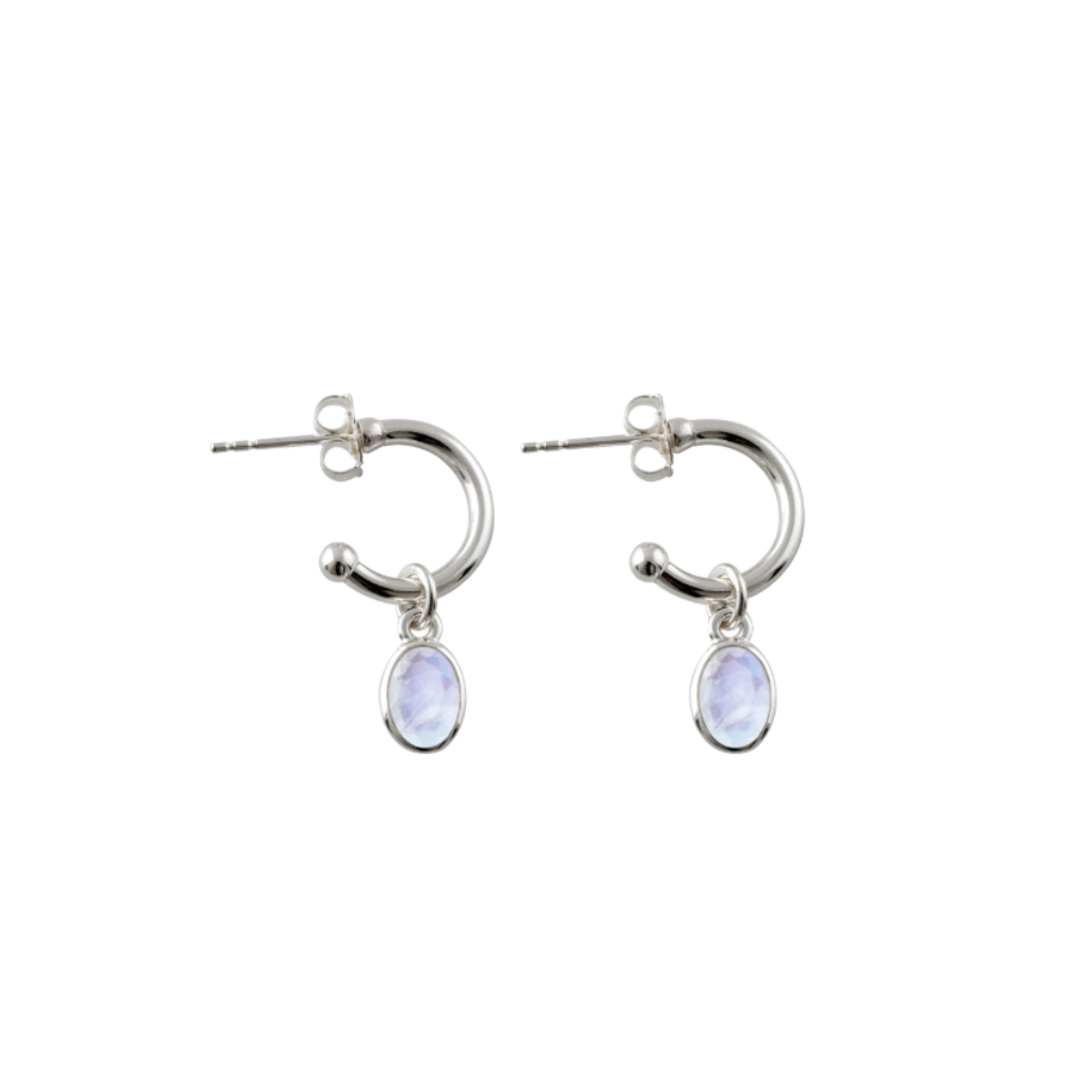 Open Hoop Studs With Moonstone
