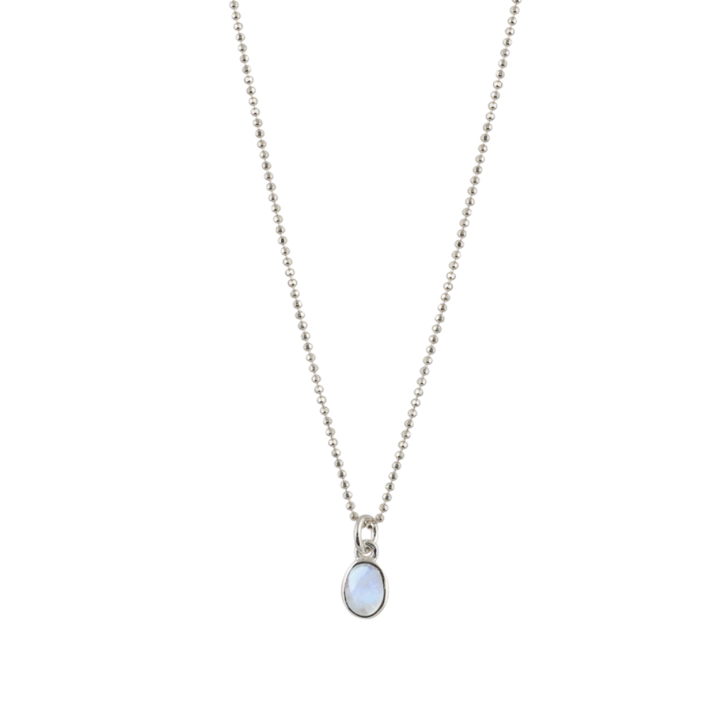 Fine Hammered Ball Necklace With Oval Moonstone