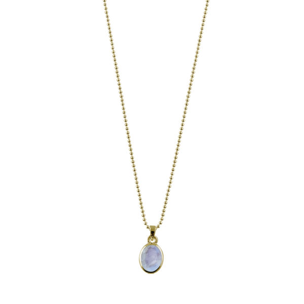 Fine Ball Necklace with Oval Moonstone Yellow Gold