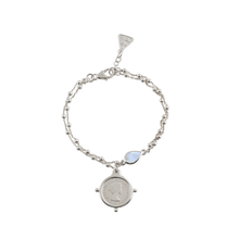 Load image into Gallery viewer, Double Rosario Bracelet With Moonstone And Threepence