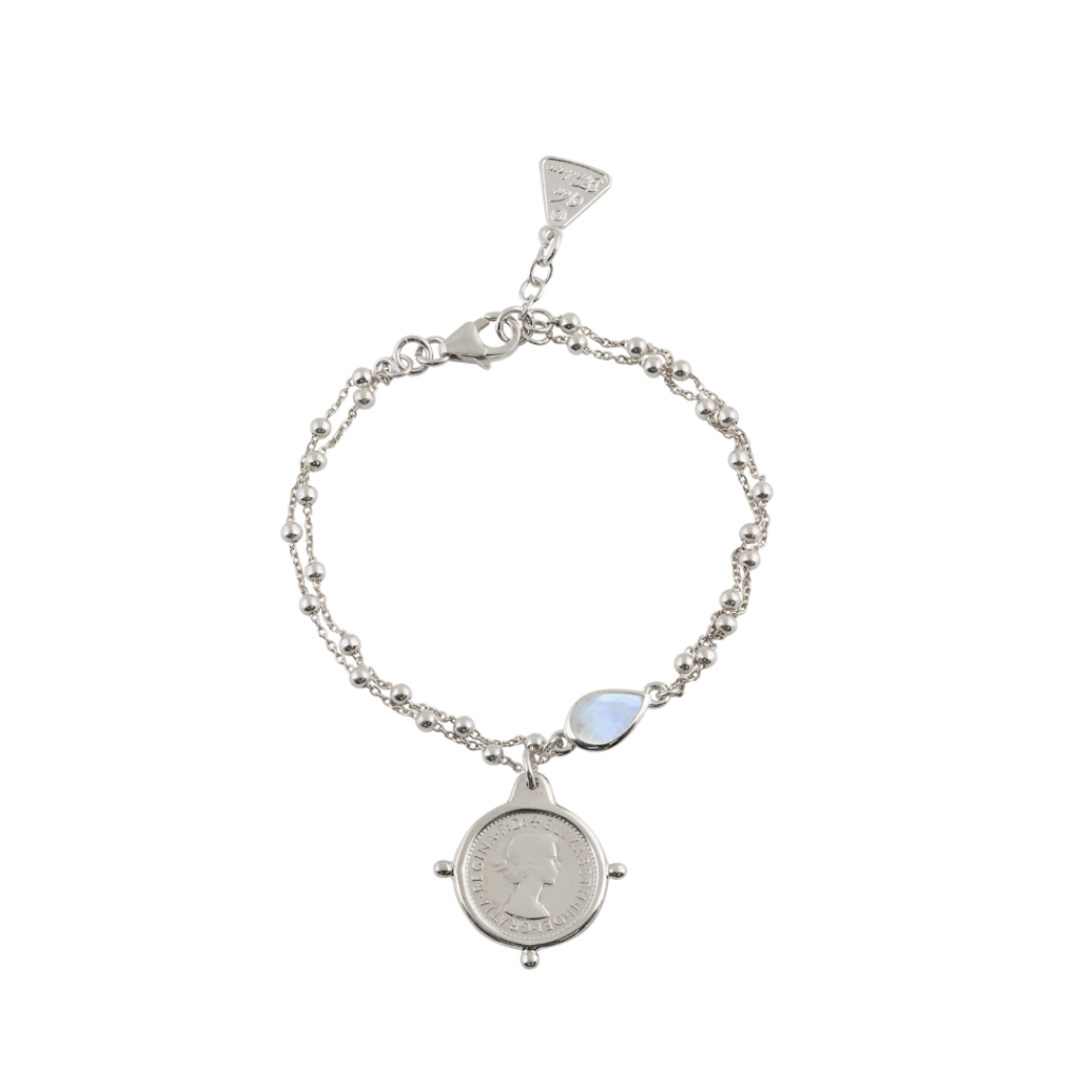 Double Rosario Bracelet With Moonstone And Threepence