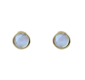 Cased Moonstone Round Studs Yellow tone