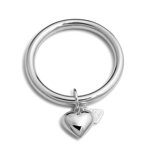 Silver 8mm Golf Bangle With Puffy Heart