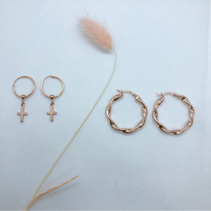 Delicate Hoop Earrings with Cross Rose Gold