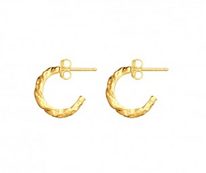 Gold plated organic half hoop earring