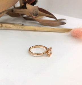 Classic 4 claw Oval Morganite Ring