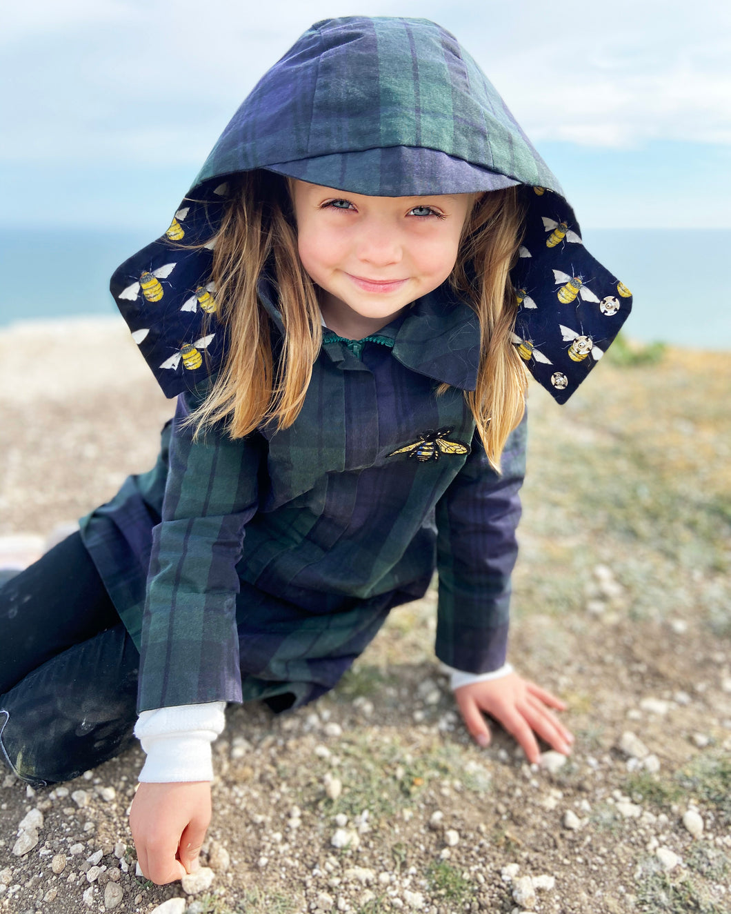 Betty Bonhard waxed cotton trench-coat with cotton lining for children