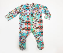 Load image into Gallery viewer, Zipper Tartan Flower Print Sleepsuit